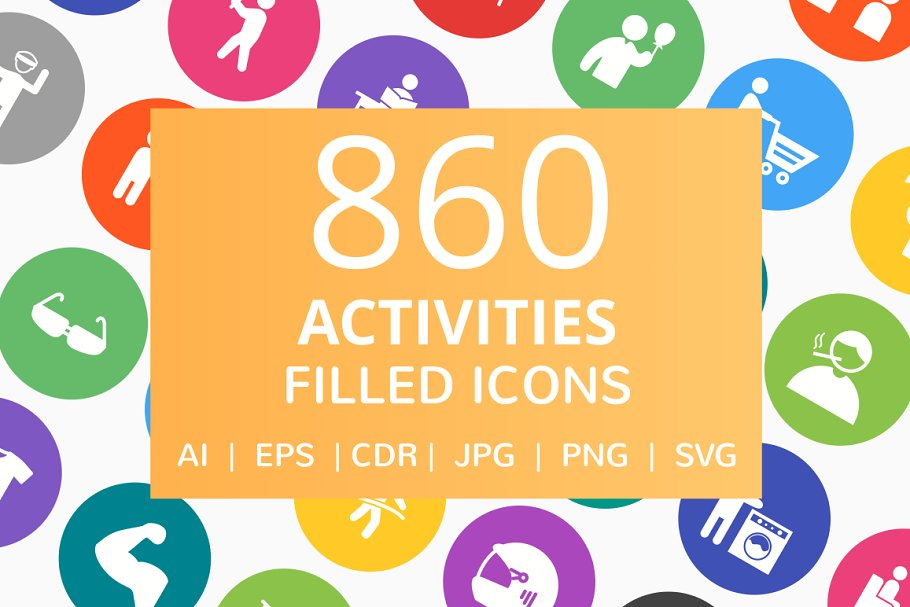 860 Activities Filled Round Icons in Graphics - product preview 8