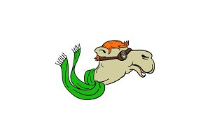 Camel Wearing Goggles Mascot