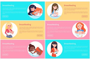 Set of Breastfeeding Posters Vector Illustrations