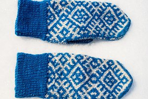knitted mittens with their own hands