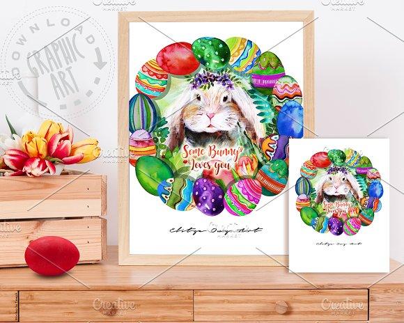 Easter Bunny Egg Wreath Border Print