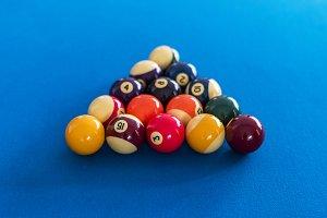 Billiard balls setup on a pool table