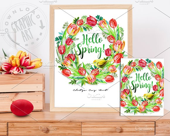 Easter Bird Wreath Border Print