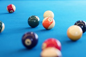 Billiard balls setup on a pool table