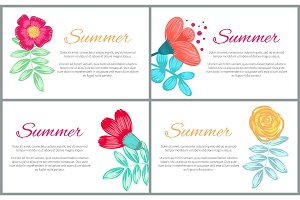 Summer Set of Colorful Banners Vector Illustration