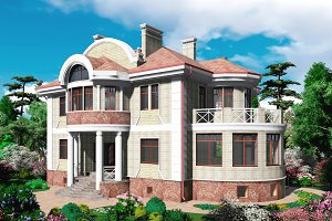 3D render house in the landscape