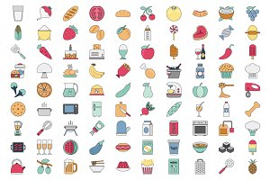 100 Food Vector Icons Set