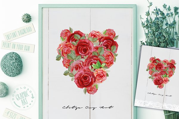 Prints Shabby Chic Watercolor Flowe…