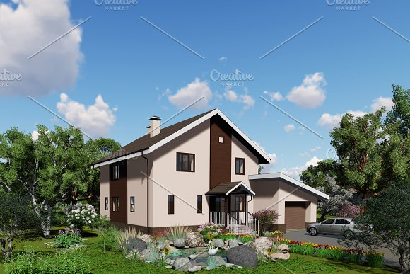 3D Visualization House With A Pond