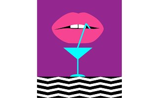 Cocktail abstract background pink
