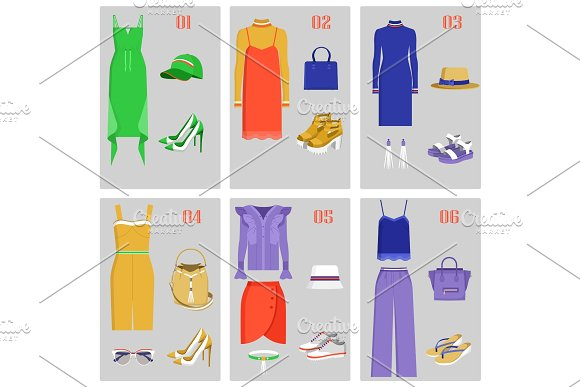 Clothes Collection Images Set Vector Illustration