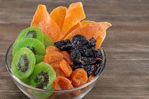 Dried fruits in glass bowl.