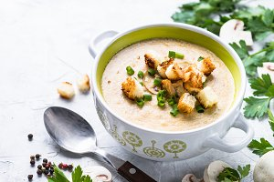Mushroom Soup puree with croutons