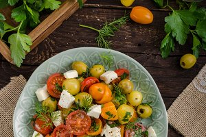Fresh tomato olives salad feta cheese