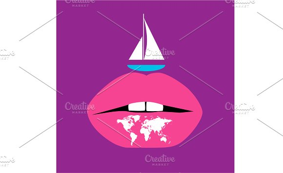 Yacht With World Map And Lips