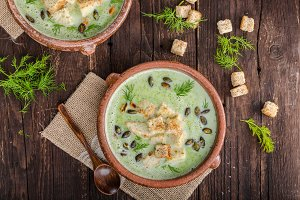 Broccoli soup vintage photography