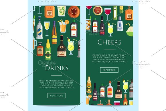 Vector Banners Illustration With Alcoholic Drinks In Glasses And Bottles