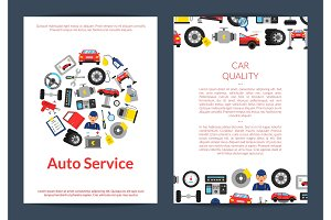 Vector card, flyer or brochure template for auto service