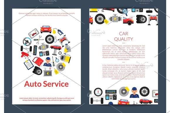 Vector Card Flyer Or Brochure Template For Auto Service