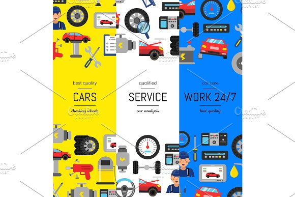 Vector Vertical Web Banners Illustration With Flat Style Car Service Elements