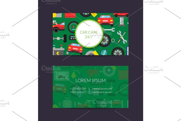 Vector Business Card Template For Auto Parts Store Or Car Service With Flat Style
