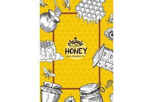 Vector illustration or flyer template with hand drawn honey elements for honey farm