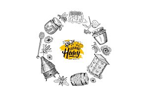 Vector hand drawn honey elements in circle form