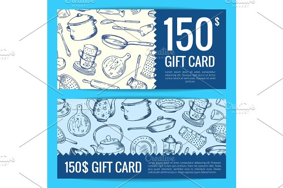 Vector Discount Voucher Or Gift Card Kitchen