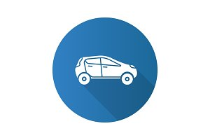Car side view flat design long shadow glyph icon