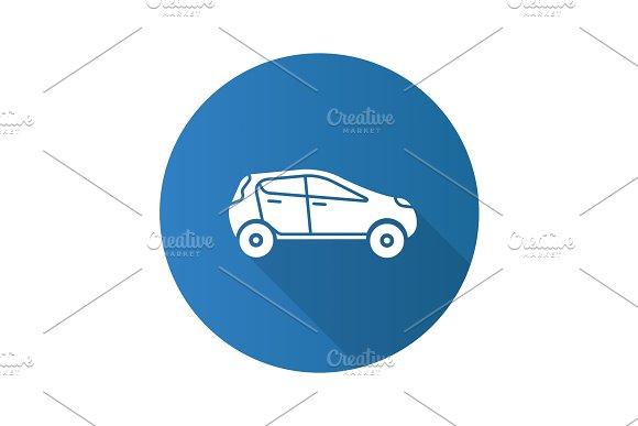 Car Side View Flat Design Long Shadow Glyph Icon