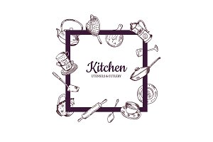 Vector frame with hand drawn kitchen utensils