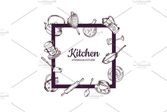 Vector Frame With Hand Drawn Kitchen Utensils