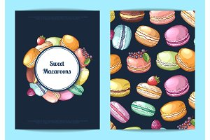 Vector card, flyer or brochure for sweet or pastry shop with colored hand drawn macaroons