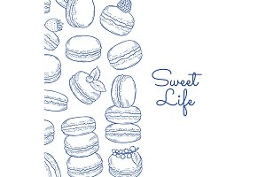 Vector background with hand drawn macaroons and place for text