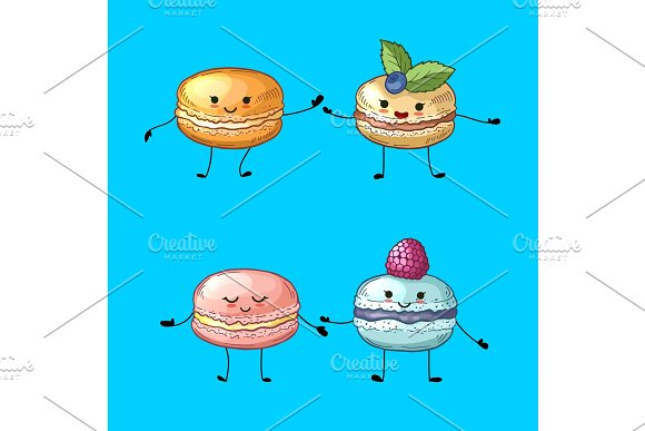 Vector Colored Hand Drawn Macaroons With Faces