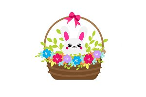 Cute bunny in flower basket. Rabbit