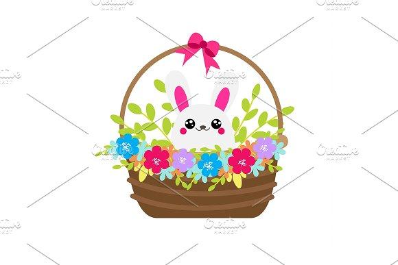 Cute Bunny In Flower Basket Rabbit