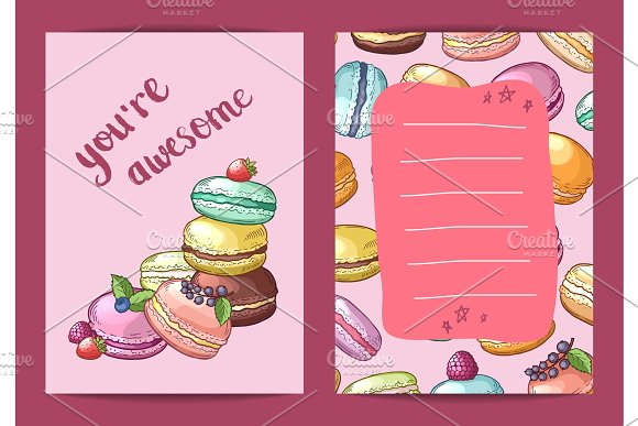 Vector Birthday Card Template With Colored Hand Drawn Macaroons