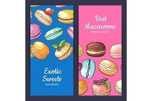 Vector flyer templates with place for text and colored hand drawn macaroons