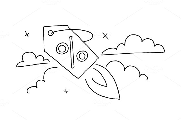 Outline Sketch By Hand Draft Launch A Discount Label Flight In The Sky Drawing Sale In The Store Hand Drawn Black Line Vector Illustration