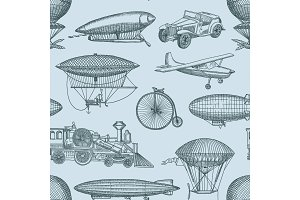 Vector pattern or background illustration vintage hand drawn airships