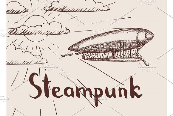 Vector Background With Steampunk Hand Drawn Airship