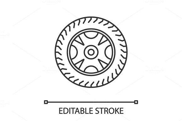 Car Rim And Tire Linear Icon