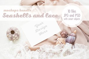 Seashells and lace cards mock up