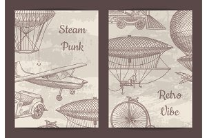 Vector card, flyer or brochure template for steampunk