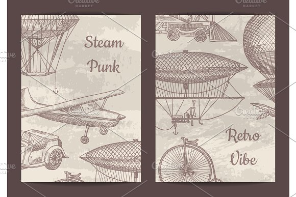 Vector Card Flyer Or Brochure Template For Steampunk
