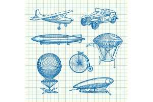 Vector set of steampunk hand drawn dirigibles, bicycles and cars