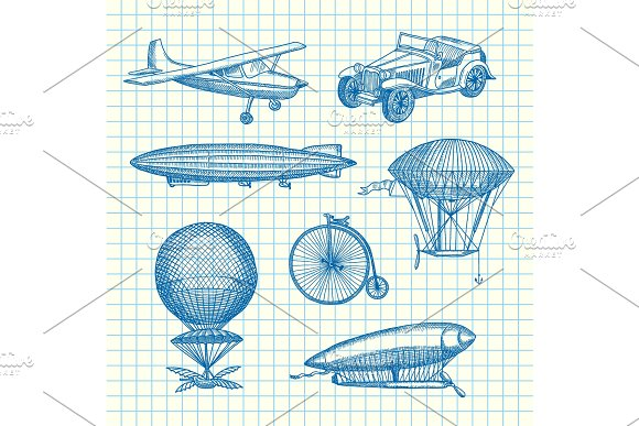 Vector Set Of Steampunk Hand Drawn Dirigibles Bicycles And Cars