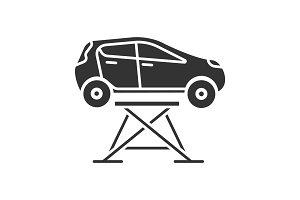 Car lift glyph icon
