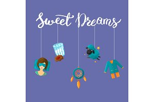 Vector background with cartoon sleep elements hanging